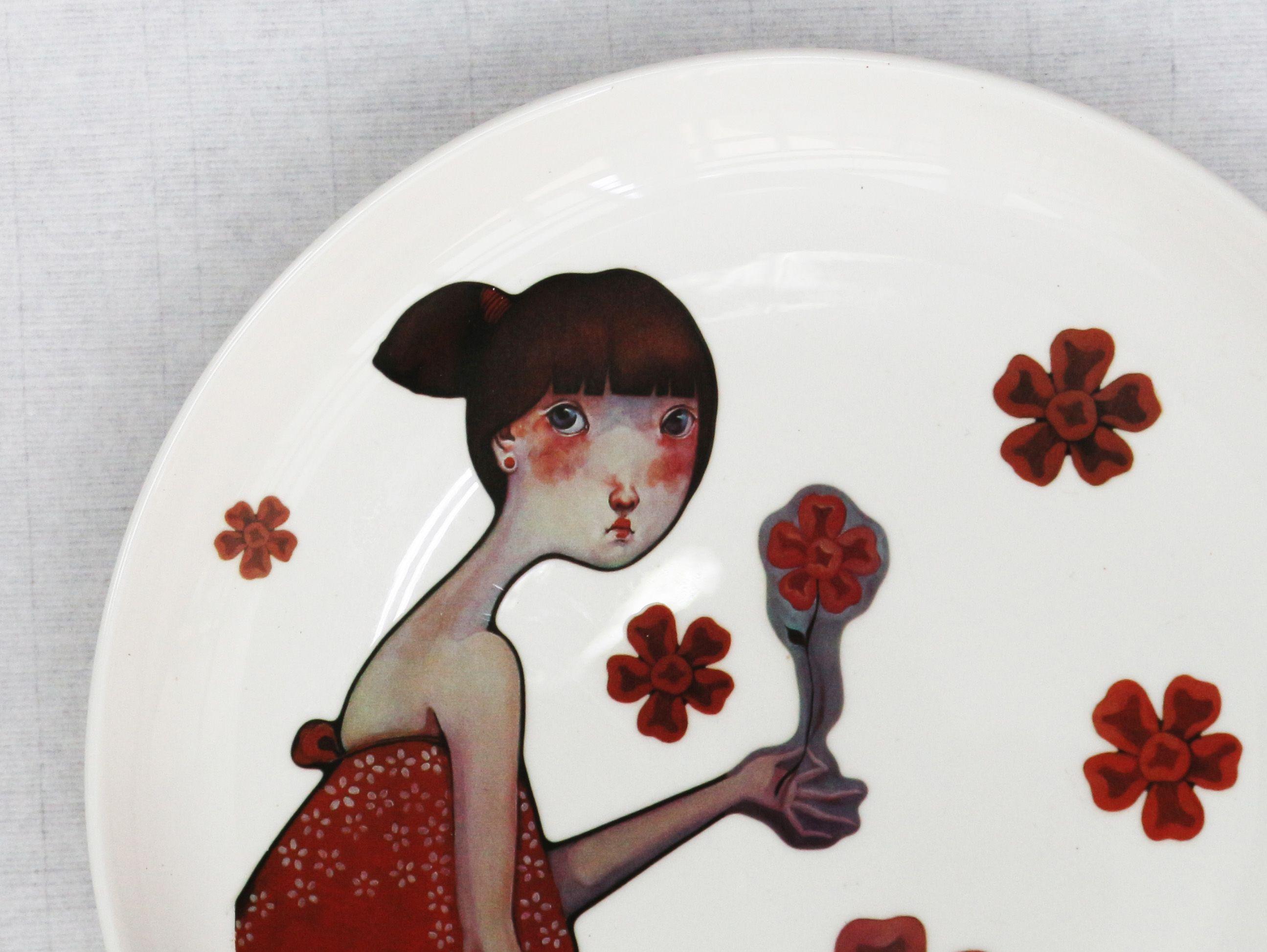 匡莉作品/瓷盘/红色耳钉