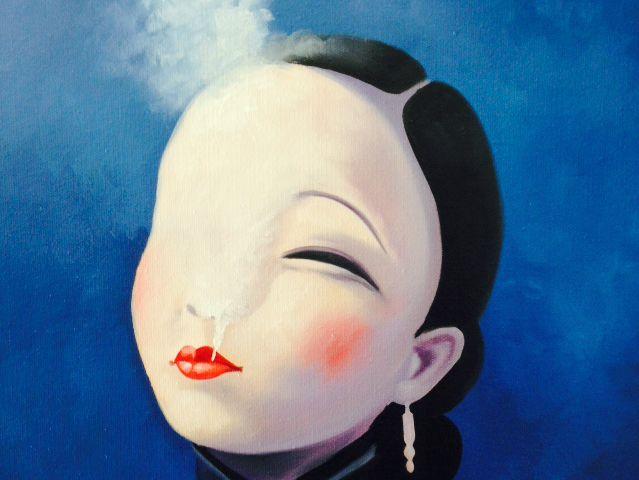 刘野-抽烟的阮玲玉 纯手绘油画装饰画